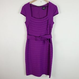 Adrianna Papell Purple Belted Shift Dress